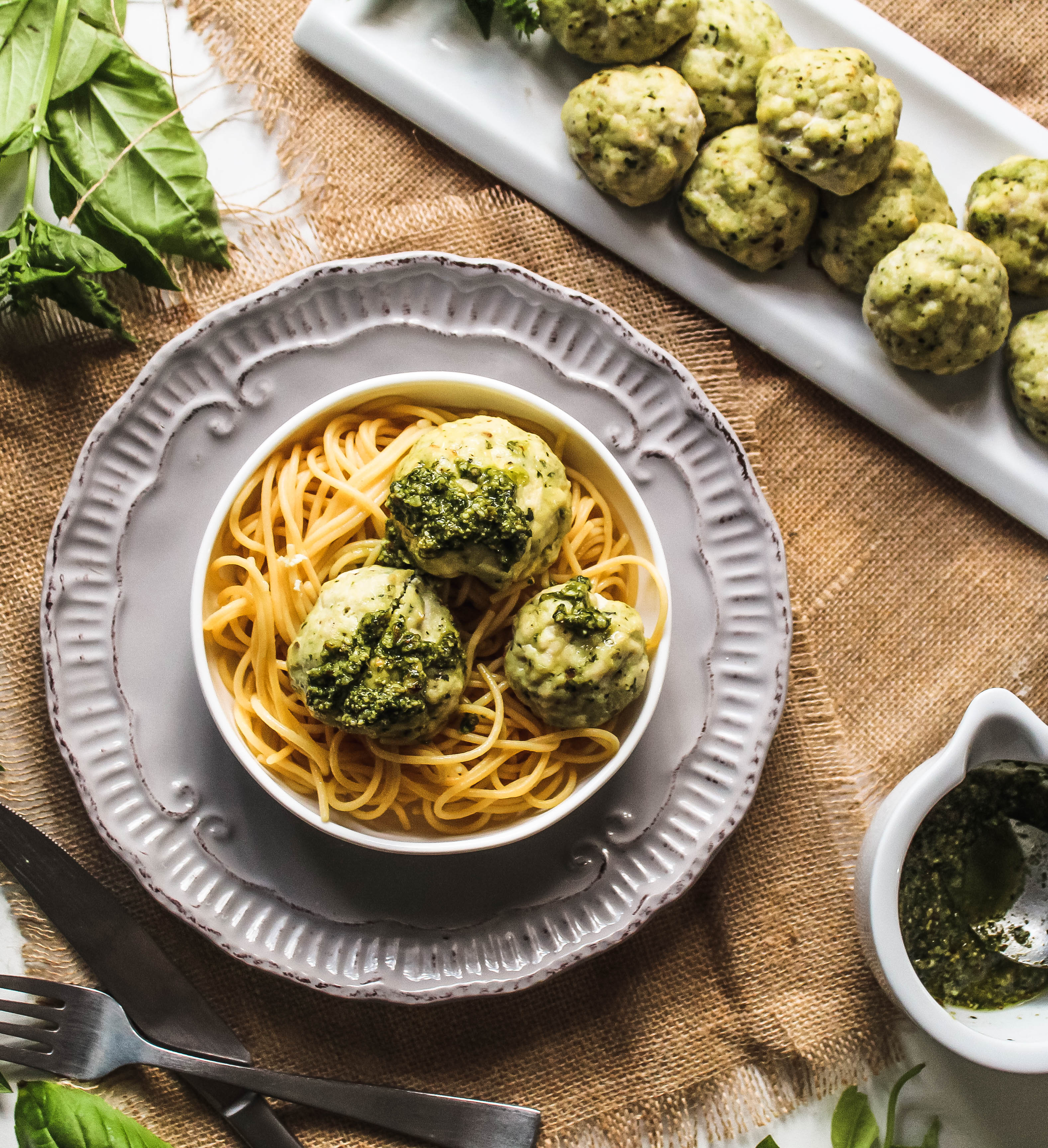 Pesto Chicken Meatballs-6