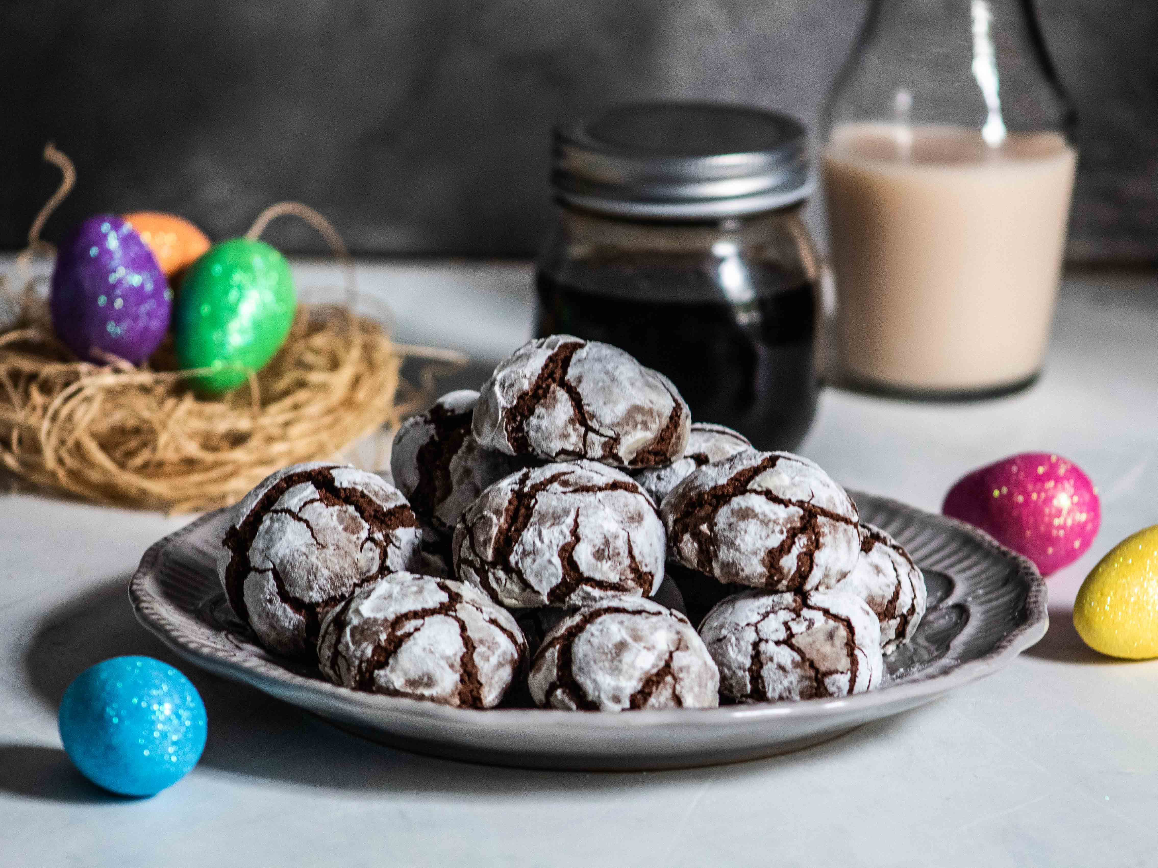 Easter Coffee Crinkle Cookies