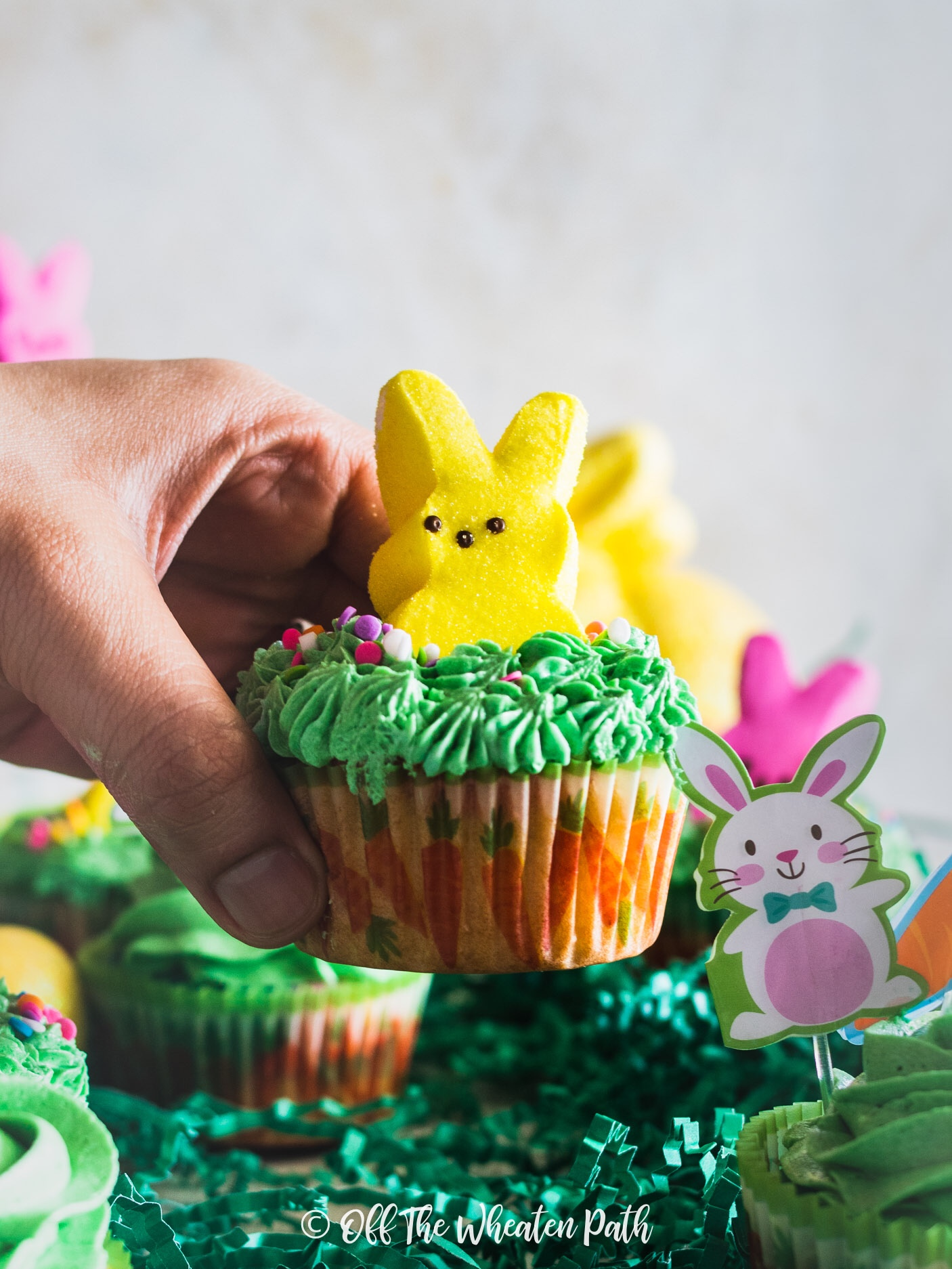 Yellow easter marble cupcake with peep decoration